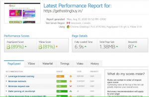 a2 hosting Gtmetrix report